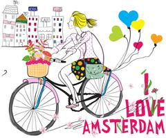 Vector cute beautiful fashionable baby girl rides a bike in Amsterdam - stock illustration