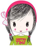 Cute girl/T-shirt Graphic/the children's book illustrations/fashion girl grap Stock Illustration