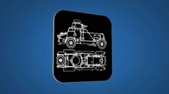 Vector Map intro - War Truck  - Transition Blueprint - grey 01 - stock footage