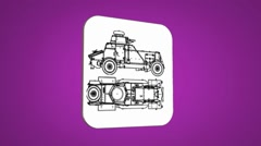 Vector Map intro - War Truck  - Transition Blueprint - purple 02 Stock Footage