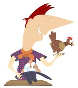 Laying hen and a farmer - stock illustration