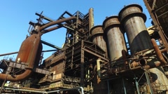 Blast Furnace, Hot Blast Stove and Gas Cleaning Equipment at Steel Plant Stock Footage