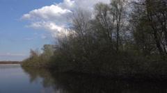 4k Pond lake landscape panning sunny nature reserve Stock Footage