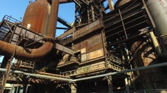 National Heritage UNESCO - Steel Plant with Blast Furnaces  Stock Footage