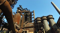 Old Cororred Industrial Equipments at Metallurgical Plant Stock Footage