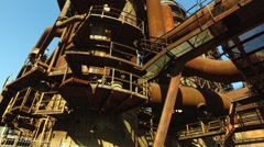 Old Cororred Industrial Equipments at Steel Plant Stock Footage