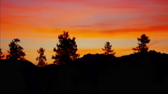 Canadian sunset view of Kootenay Mountain Range and National Park Stock Footage