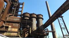 Blast Furnace and Hot Blast Stoves at Integrated Metallurgical Plant Stock Footage