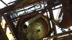 Old Blast Furnace Gas Cleaning Equipment at Steel Plant Stock Footage