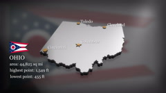 3D animated Map of Ohio - stock footage