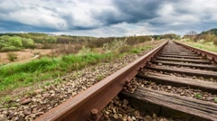 Line railroad tracks over Spring Valley, timelapse, 4k Stock Footage