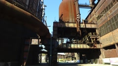 Blast Furnace Gas Cleaning Equipment at Steel Plant Stock Footage