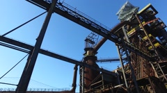 Blast Furnace At Steel Plant, Exterior View Stock Footage