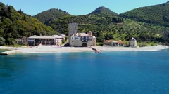 Mount Athos, Chalkidiki Greece - Arsanas Zografou at Agion Oros. Stock Footage