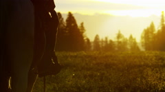 Silhouette of Cowboy Rider forest wilderness area Canada - stock footage