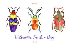Set of hand painted watercolorbugs, vector. Stock Illustration