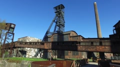 Old metallurgical plant - pithead and chimneys Stock Footage
