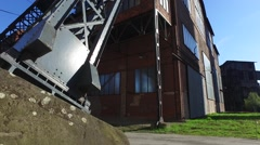 Base of Heavy Coal Mine Tower At Old Metallurgical Plant Stock Footage
