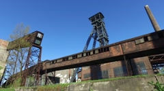 Coal Mine Tower At Old Metallurgical Plant Stock Footage