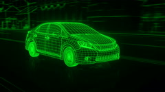City car Wireframe View - conceptual Stock Footage