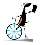 Cartoon dog rides a bike - stock illustration