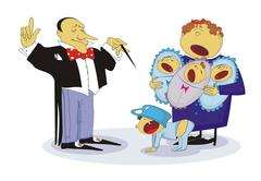 Family concert - stock illustration