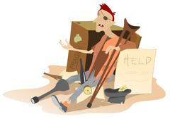 Beggar - stock illustration