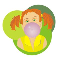 Bubble gum girl - stock illustration