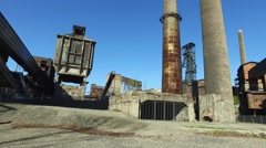 Old Abandoned Metallurgical Plant - Coke plant, chimneys, coal mine tower. Stock Footage