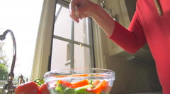 Slow Motion Making a Salad and Adding Cheese Stock Footage