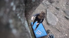 SlowMo Attractive Girl Climbing Fall From Above Stock Footage