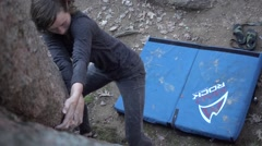Rock Climber Girl Struggles To Get A Grip In The Crack Slow Motion Stock Footage
