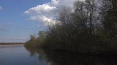 4k Pond lake landscape panning timelapse sunny nature reserve Stock Footage