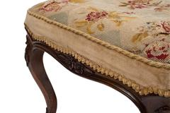 Stitched Cushion Cover of an Antique Stool Seat - stock photo