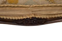 Closeup of Seat and Apron with Hand-Carved Design of Antique Stool Stock Photos