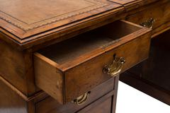 An Ajar Drawer of an Antique Wooden Office Table Stock Photos