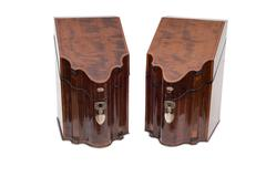 A Pair of Closed Vintage Wooden Liquor Cabinets Stock Photos