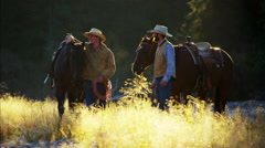 Cowboys with horses in forest wilderness area Canada Stock Footage