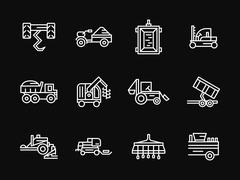 Farming machines white line design vector icons Piirros