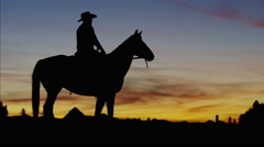 Silhouette of Cowboy Rider in sunrise wilderness area Canada Stock Footage