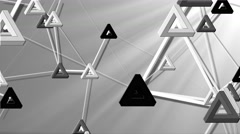 black and white triangles futuristic abstract motion background - stock footage