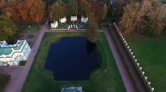 Aerial Video of the Beautiful Grounds of the Museum-Estate Kuskovo, Moscow Stock Footage
