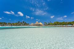 Flamingo beach at Aruba island Stock Photos