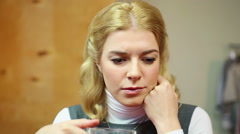 Sad housewife had a fight with her husband. Treason and betrayal, depression Stock Footage