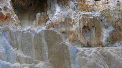 Hot spring water flowing down the wall of the karst cave Stock Footage