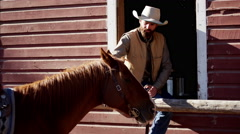 Cowboy Ranch hand bonding with horse on Dude Ranch Canada - stock footage