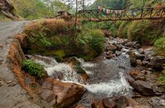 Water flowing through rocks, Kukhola falls, Sikkim Stock Photos