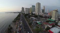 Traffic scene on Roxas Boulevard in Manila Stock Footage