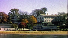 1967: Autumn beach house clubhouse closed for the summer season. Stock Footage