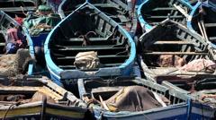 Many fishing boats close up Stock Footage